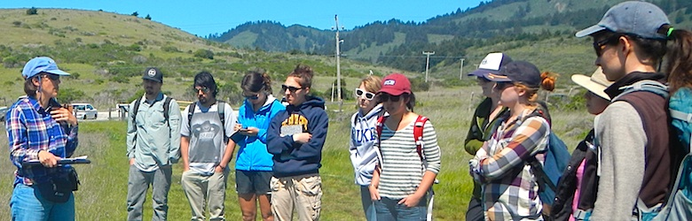 Karen Holl teaching students about coastal prairies, 2013